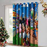 DRAGON VINES Cortinas opacas para sala de estar Reducción de ruido mickey en el parque de diversiones con hermosos patrones Set de 2 paneles W96 x L107