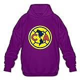 Men's Club Futbol America Logo Long-Sleeve Hoodies Sweatshirt Purple Size S Comfortable By Rahk