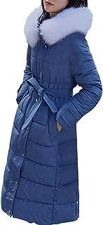 Kekebest Women's Warm Coat,Medium Long Solid Color Waist Belt Cotton Wool Tie Pocket Hooded Zipper Winter Overcoat 2019