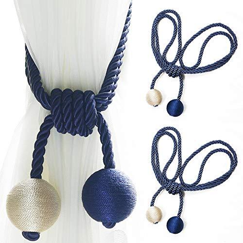 Shackcom 2 Pezzi Fibbia in Tieback per Tende Fermatenda Tende Cravatta Tenda Curtain Tiebacks-Soggiorno Ufficio Decorazione-58cm- Beige + Navy