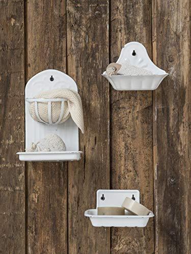 IB Laursen - Seifenschale mit Korb für die Wand aus Emaille in Antik - Weiß - Shabby Chic - Vintage
