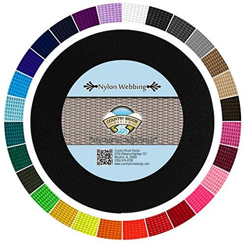 Country Brook Design - Heavy Nylon Webbing (Black, 10 Yards, 3/4 Inch)