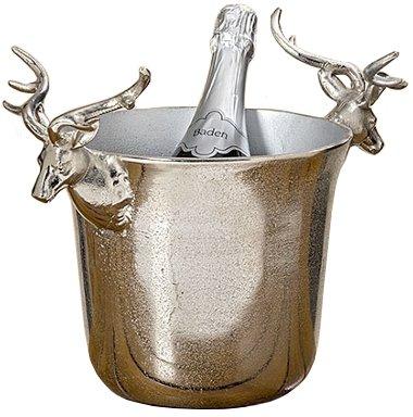 Decorazione, arredamento, soprammobile - portaghiaccio, porta champagne, secchiello, vasca con manico a forma di testa di cervo - colore: metallizzato - materiale: alluminio - ca H 27 cm