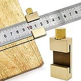 O-Kinee Regla recta Regla de Acero Inoxidable Metálico Pulgadas Regla de Metal Equipo,Con Tope de latón Bloque de ajuste de límite de Regla de Acero,Bloque de Posicionamiento (Rey)