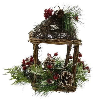 Winterlicher Pavillon aus Weide Tischdeko für die Weihnachtszeit Weihnachtsfigur Weihnachtsdeko Dekofigur zu Weihnachten