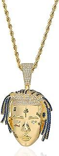 Moca Jewelry - Collana con ciondolo a forma di Rapper in stile hip hop, con micro pavé in oro 18 ct con diamanti sintetici...
