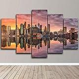 Cuadro sobre Impresión Lienzo 5 Piezas -Mural Moderno 5 Piezas Ciudad de Nueva York...