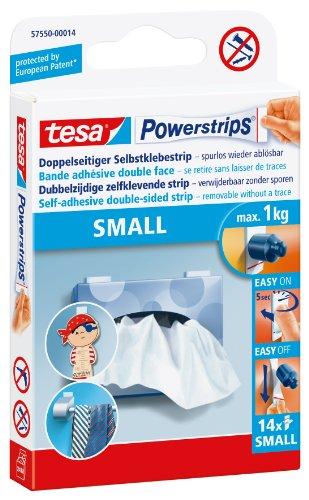 tesa 57550-00014-01 57550-00014 Small-Doppelseitige Klebestreifen zur Montage von Gegenständen auf glatten Oberflächen-Bis zu 1 kg Halteleistung-14er Pack Powerstrips, 14x