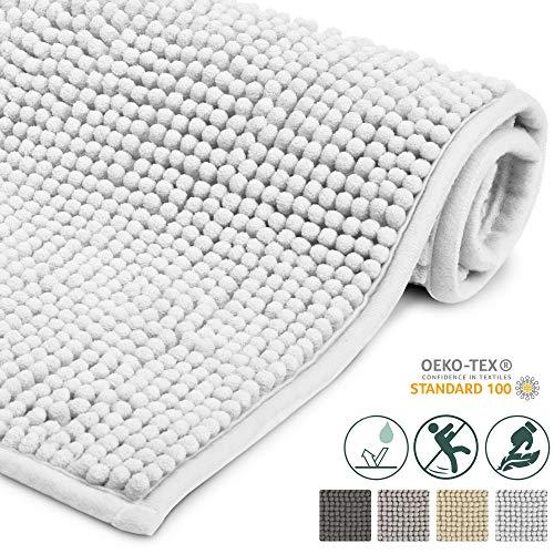 Beautissu Badematte rutschfest BeauMare WR Badezimmerteppich Weiß 50x80 cm - WC Badteppich Flauschige Bodenmatte oder Badvorleger für Dusche, Badewanne und Toilette - für Fußbodenheizung geeignet