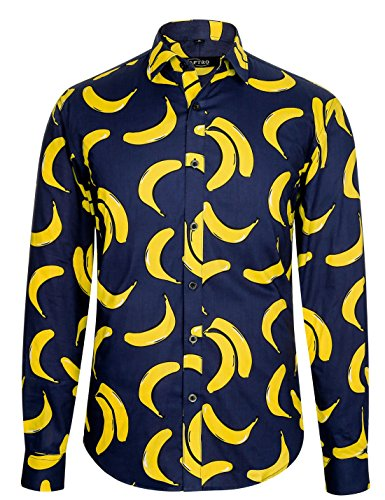 APTRO Herren Hemd Langarm Shirt Lustig Freizeit Hemd Party Regular Fit Hemd Banane 1019 L