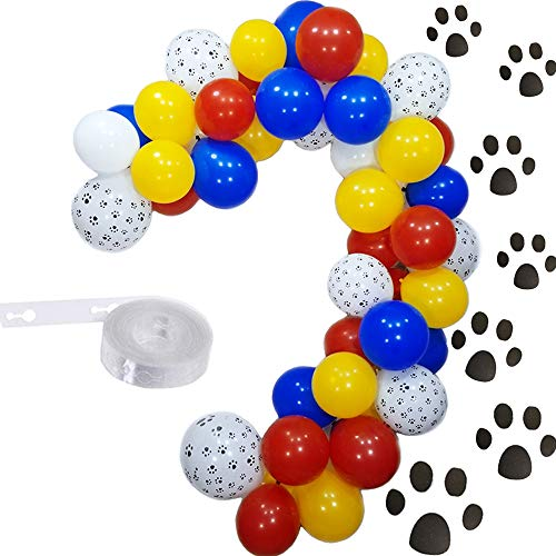 Elepplrty 16ft Paw Balloons Garland Kit-12inch Dog Paw Balloon and Red Yellow Blue White Latex Balloon For Patrol Theme Party,Birthday Party,Baby Shower Decorations