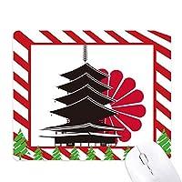 日本の菊と寺院 ゴムクリスマスキャンディマウスパッド