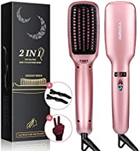 Ionic Hair Straightener Brush, Villsure 30s Fast Heating Ceramic Straightening Brush with 5 Adjustable Temperature, Electric Straightening Comb w/Anti-Scald Auto Temperature Lock Auto-Off