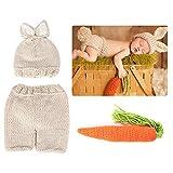 Bebé accesorios de fotografía hechos a mano de punto de ganchillo conejito gorras pantalones foto traje traje prop para niñas recién nacidas