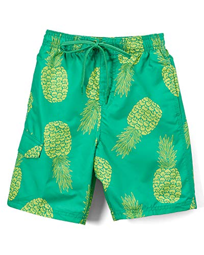 Kanu Surf Boys' Big Specter Quick Dry UPF 50+ Beach Swim Trunk, Pina Green, 10/12