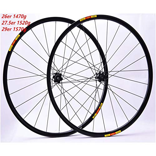 MZPWJD MTB Juego Ruedas Bicicleta 26'/27.5' / 29' Freno Disco Rueda Bicicleta Llanta Aleación Doble Pared QR 7-11V Casete Rodamiento Sellado 1470g (Color : Black, Size : 29)