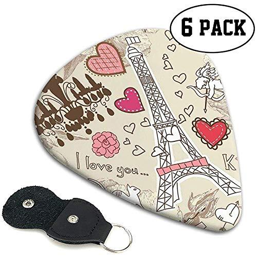Gitaarpicks 6 stuks, krabbels illustratie van Eiffeltoren hart kroonluchter bloem liefde Valentijnsdag vintage.96 mm