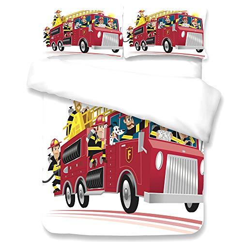 KHDJ Kinder-Bettwäsche, Bettgarnitur Polizei und Feuerwehr Flanell blau/rot Größe - hautsymphatisch, mit praktischem Reißverschluss Bettwäsche- Set, Mehrfarbig,D,King