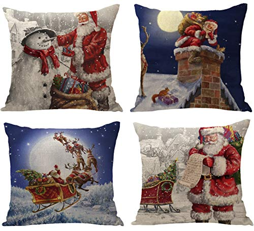 YZEECOL Christmas Pillow Covers Merry Christmas and Reindeer Santa Clause Design Xmas Tree Decorations for Home Decor Farmhouse Buffalo Plaid Cushion Cover Throw Pillow Covers 18'x18' Set of 4 Green1