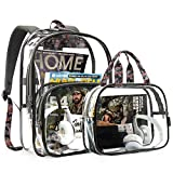 mommore Clear Backpack Durable Clear Bookbags Transparent Backpack for School, Work, Security