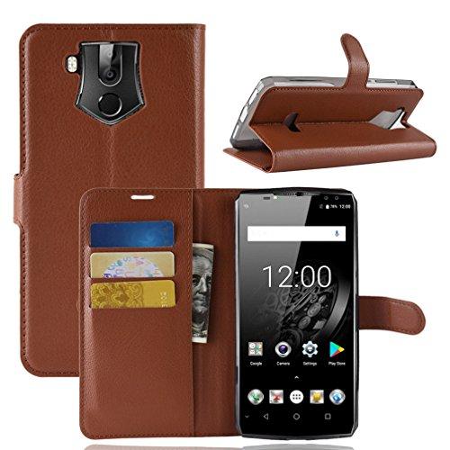 LMFULM® Hülle für Oukitel K10 (6,0 Zoll) PU Leder Magnet Brieftasche Lederhülle Litschi Muster Standfunktion Ledertasche Flip Cover für Oukitel K10 Braun