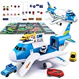 Airplane Toy with Mini Car Set and Helicopter Take Apart Toys Cargo for Boy Toddler Easter Basket Stuffer Gift Age 2 3 4 5 6 Years Old, 5 Mini Vehicles 1 Large Plane 1 Large Play Mat 21 Road Signs