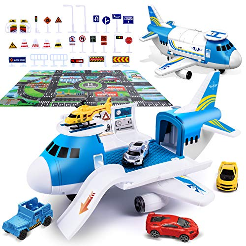 Airplane Toy with Car Toy Helicopter Set, Take Apart Toy for Play Set Boy Toddler...