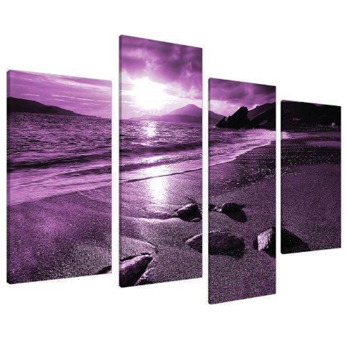 Large Purple Sunset Beach Split Canvas Landscape Wall Art Pictures Set 4 Prints - Contemporary Coastal Artwork - Split Multi Panel - XL - 130cm Wide