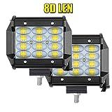 """Kit 4"""" Pair Philips LED Projecteur 6000K 72W 7200LM 4 Rangs 24 LED Chips Lentille Light Barre OFF-ROAD Phare de Travail Spot Lumineuse Feux Antibrouillard Voiture Camion Tracteur SUV Bateau Harvester"""