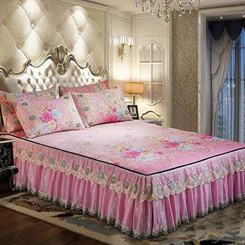 GCC Europese stijl Gewatteerde Bed Rokken, Ijs Zijde Cool Platform Verwijderbare Lace-bijgesneden Bedsprei, Machine Wasbaar Vouwbed Spread