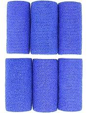 KEQCQE 自着性伸縮包帯 弾力包帯粘着包帯テーピング バンテージ ペット 犬 猫防水不織布 関節サポート 伸縮性 通気性 6巻入