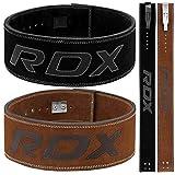 RDX Cow Hideレザージムウェイトリフティング レバーバックル パワーリフティングベルトフィットネス エクササイズ ボディビルディング (S, ブラック)