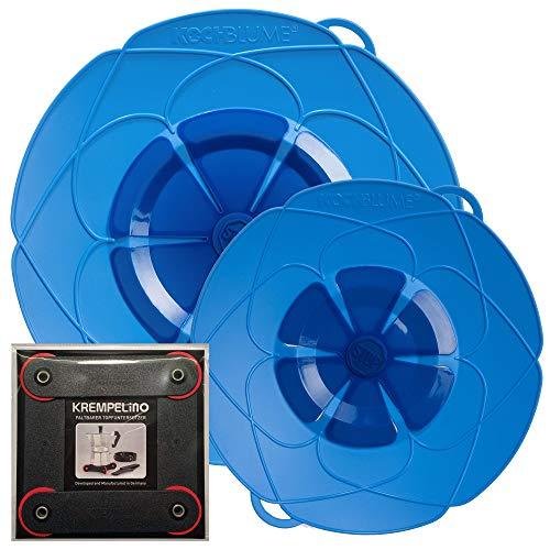 Kochblume vom Erfinder Armin Harecker [2er Set] XL 33cm + M 25,5cm blau | für Topfgrößen von Ø 14 bis 28 cm | Set mit KREMPELinO!