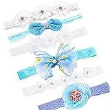 QUACOWW 6 diademas de flores para bebé, niñas, con cinta de grogrén, para niñas pequeñas, de piel sintética, con estrellas para niños, como adorno para el pelo, para fiestas, bodas y fotos