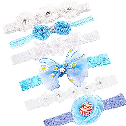 QUACOWW 6 diademas de flores para bebé, niñas, con cinta de grogrén,...
