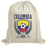 ShirtStreet Kolumbien Fußball WM Fanfest Gruppen Fan natur Turnbeutel Rucksack Gymsac Pokal Colombia 2018, Größe: onesize,natur