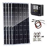 Kit de panel solar AUECOOR de 400 vatios: 4 paneles solares monocristalinos de 100 W con controlador de carga solar de 30 A para RV, barco, sistema Off Grid