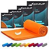 Fit-Flip Toallas Microfibra – 15 Colores, 6 tamaños – Ultraligera y compacta – Toalla Microfibra Grande Toalla Playa Microfibra y Toalla Deporte Gimnasio (2X 40x80cm + 1 Bolsa, Naranja)