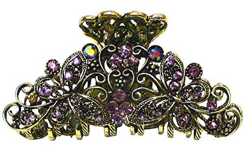 Pince à cheveux forme papillon, en métal et cristal, teinte plaqué or vieilli, RW86410-6132