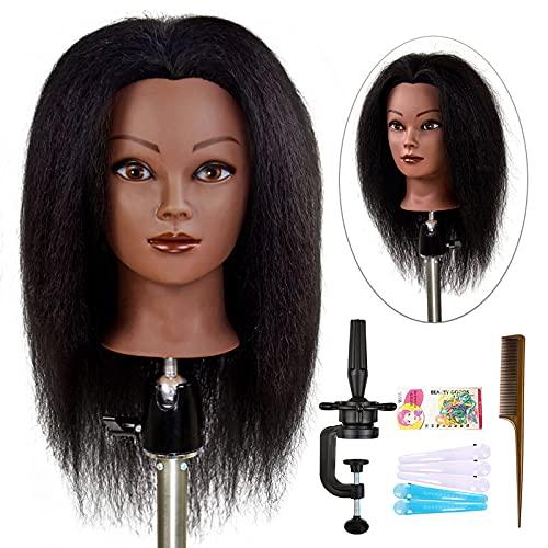 ISHOT Mannequin Head 100% Real Hair Doll Head Beauty School Hair Practice Head Hairdresser Training Head Manikin Cosmetology