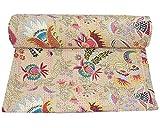NANDNANDINI TEXTILE indio hecho a mano Emroidered Kantha colcha sofá cama manta manta vintage sábana acolchada para sala de estar dormitorio reversible colcha patchwork tamaño king
