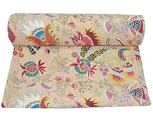 NANDNANDINI TEXTILE Colcha india hecha a mano Kantha Emroidered Kantha para sofá cama, manta de cama vintage acolchada para sala de estar, dormitorio, colcha reversible patchwork tamaño king