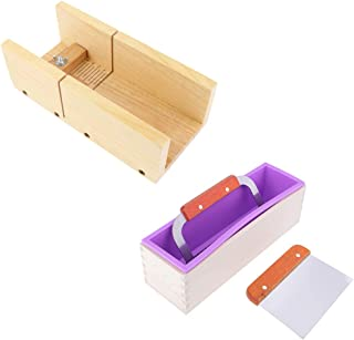 SM SunniMix 4 Pieces/Set Adjustable Soap Cutting Mould, Silicone Soap Mold Loaf with Wooden Box, Wavy & Straight Stainless Steel Soap Cutter