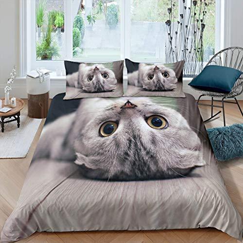 Feelyou Niedliches Katzen-Bettwäsche-Set für Jungen & Mädchen, Teenager, süßes Tiermuster, Bettbezug, Geschenk für Katzenliebhaber, Reißverschluss, weich