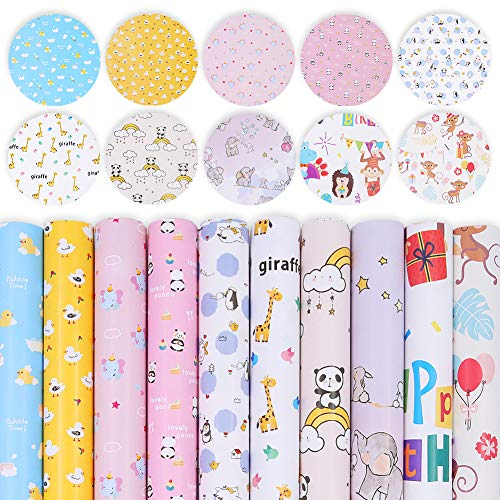 20 Sheets Cute Animal Gift Wrapping Paper,Panda Duck Giraffe Elephant Gift Package Paper for Baby Shower Birthday Gifts Wrap Christmas Kids Present Packing Paper Craft,27.5 X 19.7 Inch