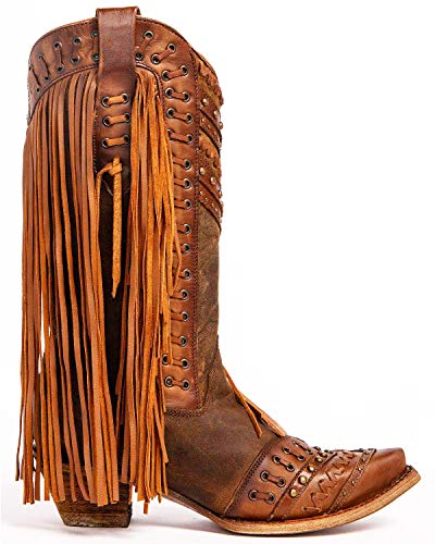 CORRAL Women's Mayela Woven & Fringed Snip Toe Cowboy Leather Boots, Brown/Tan, 9.5 Medium