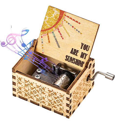 You Are My Sunshine Music Box Wood Personalizable Music Box, Laser Engraved Vintage Wooden Sunshine Musical Box Gifts for Birthday/Christmas (Sunshine)