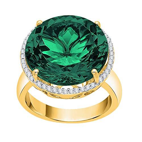 KATARINA Anillo de compromiso de diamantes redondos y halo de esmeralda en oro de 14 k (15 1/10 cttw, G-H, I2-I3)