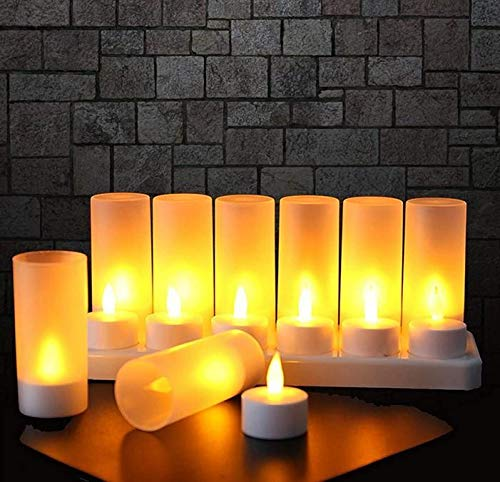 Mtawou 12 Flameless Battery Operated Candles LED Tea Lights with Decoration Electric Rechargeable Electronic Candle Batteries for Christmas Tree Easter Wedding Party