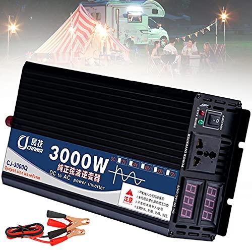 YNITJH 3000W 4000W 5000W Convertidor de Voltaje de Onda Sinusoidal Pura Coche DC 12V/24V/48V/60V a AC 110V/220V Convertidor Inversor con LCD Pantalla Digital Dual Y Toma,3000W-48Vto220V